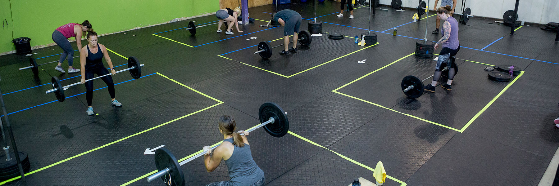 CrossFit Iron Refined class in Eagle River Alaska with socially distanced boxes.